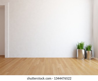 Idea of a white empty scandinavian room interior with grass in vases on the wooden floor and lagre wall and white landscape in window. Background interior. Home nordic interior. 3D illustration