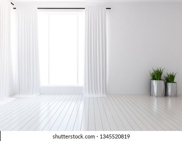 Idea of a white empty scandinavian room interior with vases on the wooden floor and large wall and white landscape in window with curtains. Background interior. Home nordic interior. 3D illustration