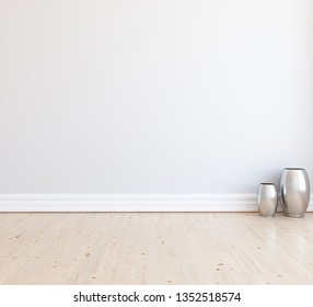 Idea of a white empty scandinavian room interior with vases on the wooden floor and large wall and white landscape in window. Background interior. Home nordic interior. 3D illustration