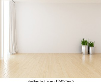 Idea of a white empty scandinavian room interior with grass in vases on the wooden floor and large wall and white landscape in window. Background interior. Home nordic interior. 3D illustration