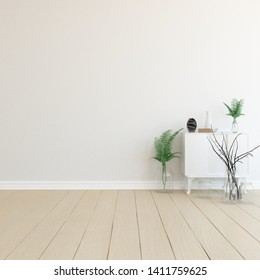 Idea of a white empty scandinavian room interior with dresser, vases on the wooden floor and large wall and white landscape in window. Background interior.  Home nordic interior. 3D illustration