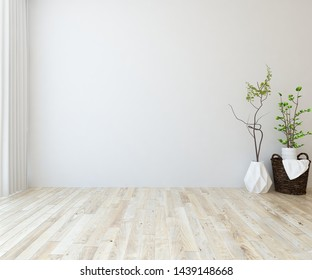 Idea of a white empty scandinavian room interior with vases on the wooden floor and lagre wall and white landscape in window with curtains. Background interior. Home nordic interior. 3D illustration