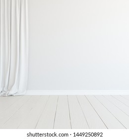 Idea of a white empty scandinavian room interior with wooden floor and large wall and white landscape in window. Background interior. Home nordic interior. 3D illustration