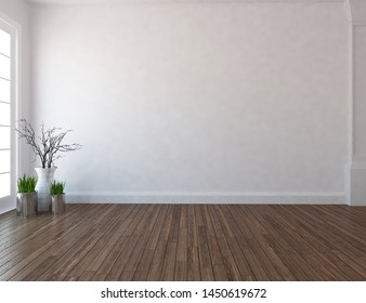 Idea of a white empty scandinavian room interior with vases on the wooden floor and lagre wall and white landscape in window. Background interior. Home nordic interior. 3D illustration