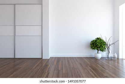 Idea of a white empty scandinavian room interior with plants in vases on the wooden floor and large wall and white landscape in window. Background interior. Home nordic interior. 3D illustration