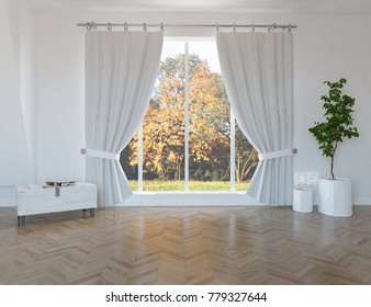 Idea of a white empty scandinavian room interior with orange lamdscape in window with curtains and vintage wooden floor. Nordic home interior. 3D illustration