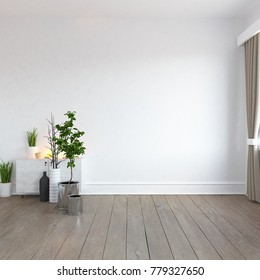 Idea of a white empty scandinavian room interior with vitage wooden floor and large wall. Nordic home interior. 3D illustration