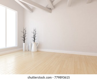 Idea of a white empty scandinavian room interior with vases and vintage wooden floor. Nordic home interior. 3D illustration