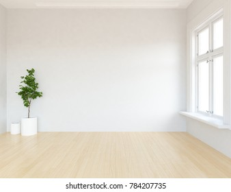 Idea of a white empty scandinavian room interior with vases on the wooden floor and white landscape in window. Home nordic interior. 3D illustration