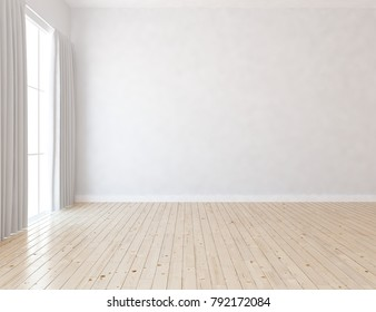 Idea of a white empty scandinavian room interior with large wall and white landscape in window with curtains. Home nordic interior. 3D illustration
