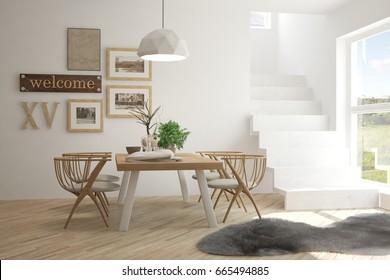 Idea of white minimalist dinner room. Scandinavian interior design. 3D illustration