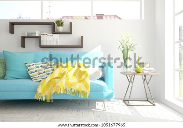 Terrific Idea White Minimalist Room Blue Sofa Stock Illustration Inzonedesignstudio Interior Chair Design Inzonedesignstudiocom