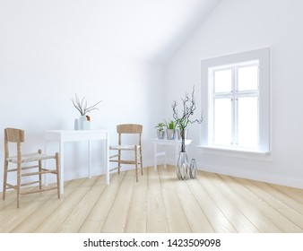 Idea of a white scandinavain kitchen room interior with dinning furniture and vases on the wooden floor and large wall and white landscape in window. Home nordic interior. 3D illustration