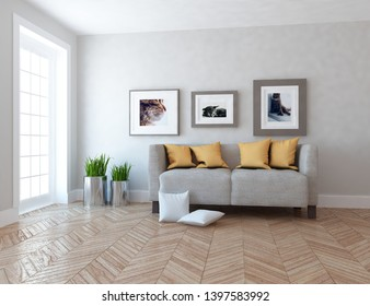 Idea of a white scandinavain living room interior with sofa, vases on the wooden floor and pictures on the large wall and white landscape in window. Home nordic interior. 3D illustration