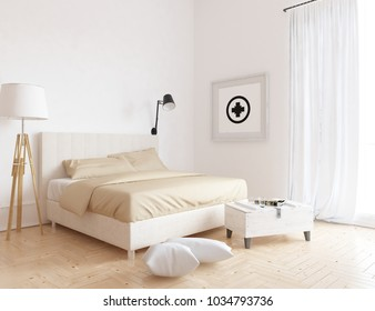 Idea of a white scandinavian bedroom interior with comfortable bed and decor on the large wall and white landscape in window with curtains. Home nordic interior.
