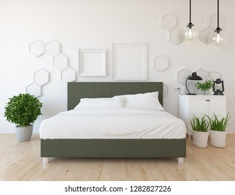 Idea of a white scandinavian bedroom interior with double bed, dresser and decor on the large wall and white landscape in window. Home nordic interior. 3D illustration