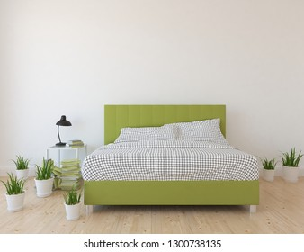 Idea of a white scandinavian bedroom interior with double bed and dresser on the wooden floor and large wall and white landscape in window. Home nordic interior. 3D illustration