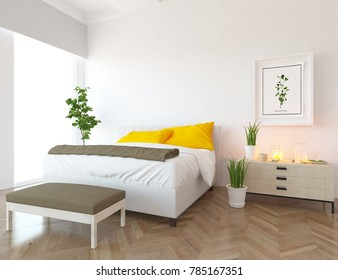 Idea of a white scandinavian bedroom interior with large comfortable bed and white landscape in window. 3D illustration