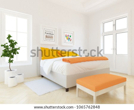 Idea Of A White Scandinavian Bedroom Interior With Vases, Double Bed And  Decor On The