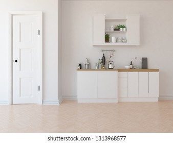 Idea of a white scandinavian kitchen room interior with door, dinning furniture and large wall and white landscape in window. Home nordic interior. 3D illustration