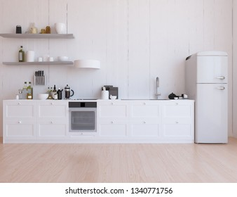 Idea of a white scandinavian kitchen room interior with dinning furniture and wooden floor and large wall and white landscape in window. Home nordic interior. 3D illustration