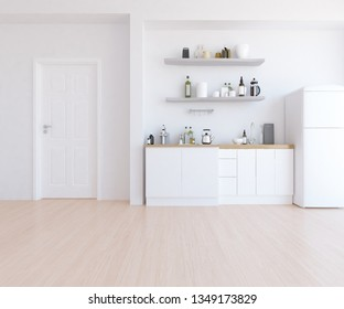 Idea of a white scandinavian kitchen room interior with dinning furniture and wooden floor and shelves on the large wall and white landscape in window. Home nordic interior. 3D illustration