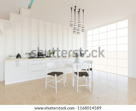 Idea Of A White Scandinavian Kitchen Room Interior With Dinning Furniture  And Large Wall And White