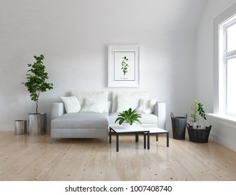 Idea of a white scandinavian living room interior with sofa, tables, plants in vases and large wall and white landscape in window. Home nordic interior. 3D illustration