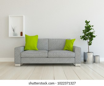Idea of a white scandinavian living room interior with comfortable sofa, plants in vases on the floor and decor on the large wall and white landscape in window. Home nordic interior. 3D illustration