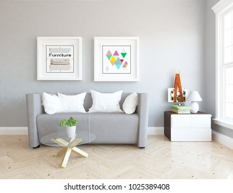 Idea of a white scandinavian living room interior with sofa, dresser, table on the wooden floor and pictures on the large wall and white landscape in window. Home nordic interior. 3D illustration