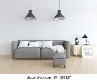 Idea of a white scandinavian living room interior with sofa, dresser on the floor and decor on the large wall and white landscape in window. Home nordic interior. 3D illustration
