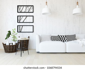 Idea of a white scandinavian living room interior with sofa, vases on the wooden floor and decor on the large wall and white landscape in window. Home nordic interior. 3D iluustration