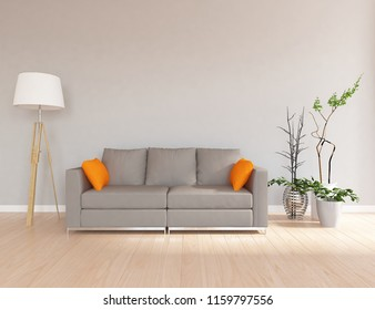 Idea Of A White Scandinavian Living Room Interior With Sofa, Vases On The  Wooden Floor