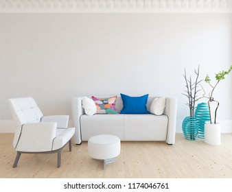 Idea of a white scandinavian living room interior with sofa, armchair, vases on the wooden floor and decor on the large wall and wbite landscape in window. Home nordic interior. 3D illustration
