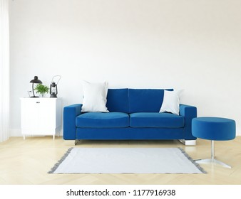 Idea of a white scandinavian living room interior with sofa, dresser on the wooden floor and decor on the large wall and white landscape in window. Home nordic interior. 3D illustration