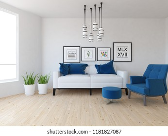 Idea of a white scandinavian living room interior with sofa, vases on the wooden floor and pictures on the large wall and white landscape in window. Home nordic interior. 3D illustration