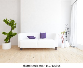 Idea of a white scandinavian living room interior with sofa, vases on the wooden floor and decor on the large wall and white landscape in window with curtains. Home nordic interior. 3D illustration