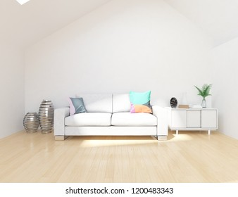 Idea of a white scandinavian living room interior with sofa, dresser, vases on the wooden floor and decor on the large wall and white landscape in window. Home nordic interior. 3D illustration