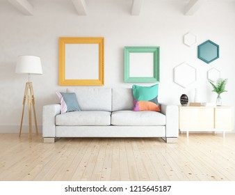 Idea of a white scandinavian living room interior with sofa, dresser, lamp on the wooden floor and frames on the large wall and white landscape in window. Home nordic interior. 3D illustration