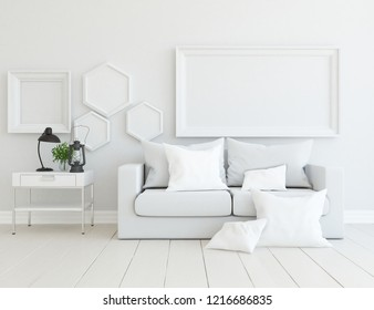 Idea of a white scandinavian living room interior with sofa, dresser on the wooden floor and frames and decor on the large wall and white landscape in window. Home nordic interior. 3D illustration