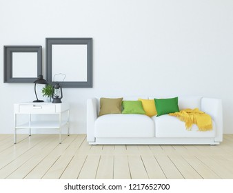 Idea of a white scandinavian living room interior with sofa, dresser on the wooden floor and frames on the large wall and white landscape in window. Home nordic interior. 3D illustration