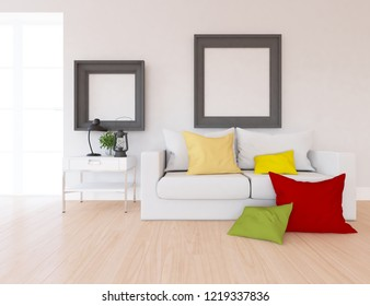 Idea of a white scandinavian living room interior with sofa, dresser, vases on the wooden floor and frames on the large wall and white landscape in window. Home nordic interior. 3D illustration
