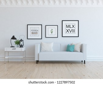 Idea of a white scandinavian living room interior with sofa, dresser on the wooden floor and pictures on the large wall and white landscape in window. Home nordic interior. 3D illustration