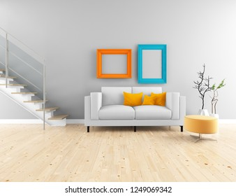 Idea of white scandinavian living room interior with sofa, stairs, vases on the wooden floor and frames on the large wall and white landscape in window. Home nordic interior. 3D illustration