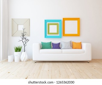 Idea of a white scandinavian living room interior with sofa, vases on the wooden floor and frames on the large wall and white landscape in window with curtains. Home nordic interior. 3D illustration