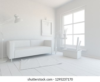 Idea of a white scandinavian living room interior with sofa, vases on the wooden floor and decor on the large wall and white landscape in window. Home noirdic interior. 3D illustration