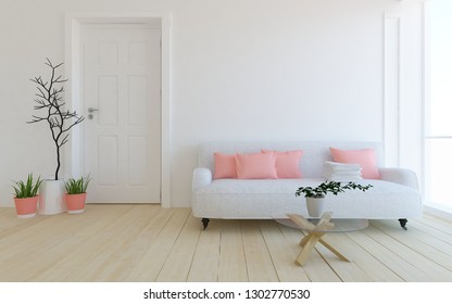 Idea of a white scandinavian living room interior with door, sofa, vases on the wooden floor and decor on the large wall and white landscape in window. Home nordic interior. 3D illustration