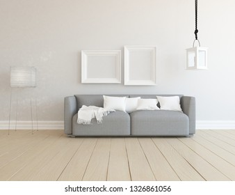 Idea of a white scandinavian living room interior with sofa, lamp on the wooden floor and frames on the large wall and white landscape in window. Home nordic interior. 3D illustration