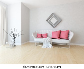 Idea of a white scandinavian living room interior with sofa, vases on the wooden floor and frames on the large wall and white landscape in window. Home nordic interior. 3D illustration