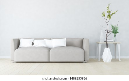 Idea of a white scandinavian  living room interior with sofa, dresser, vase on the wooden floor and decor on the large wall and white landscape in window. Home nordic interior. 3D illustration
